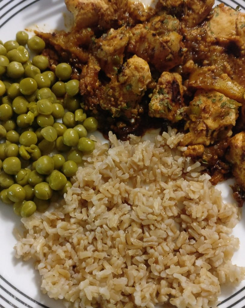 Sweet and Spicy Glazed Chicken with peas and rice