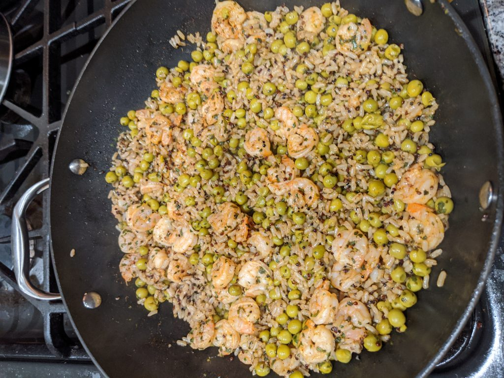 Chili Lime Shrimp Over Quinoa, cooking in skillet