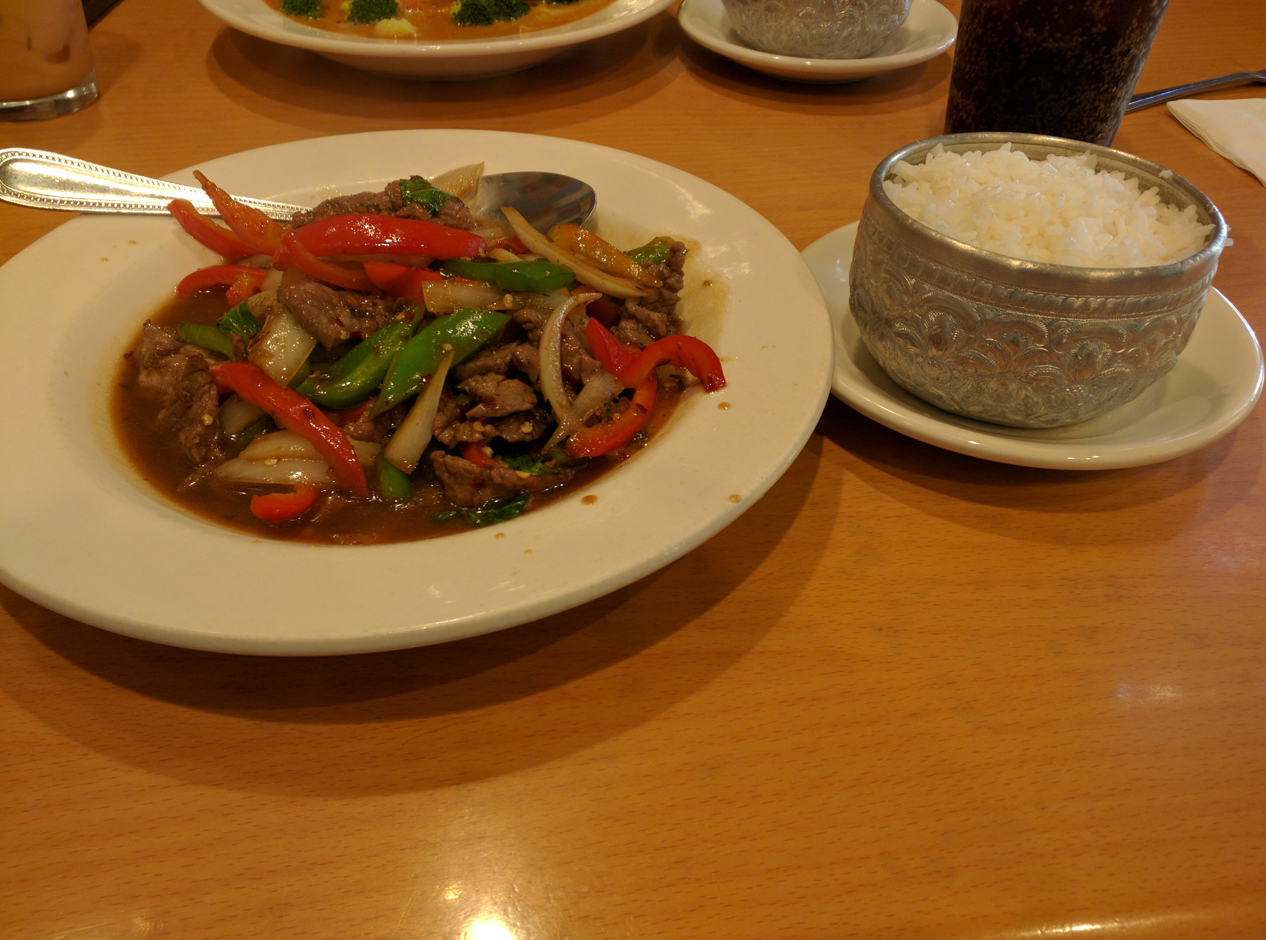 Spicy Basil with Beef and White Rice from Siam Thai in Temecula, California