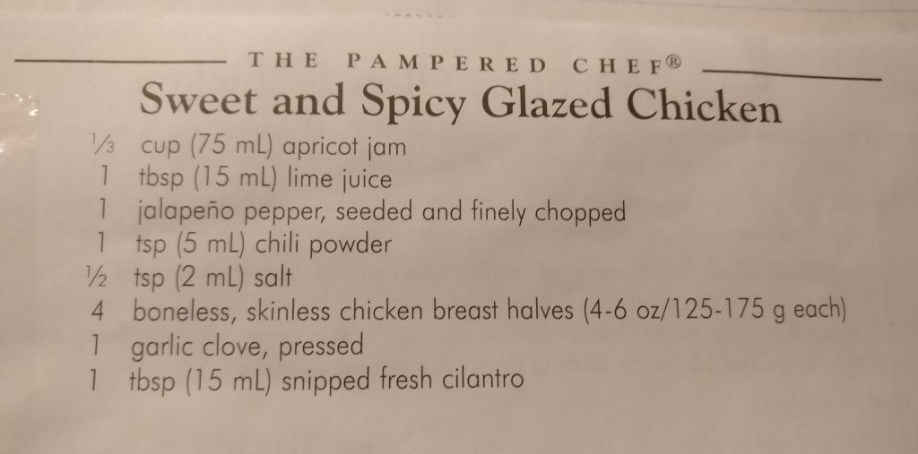Sweet and Spicy Glazed Chicken Recipe Card from The Pampered Chef