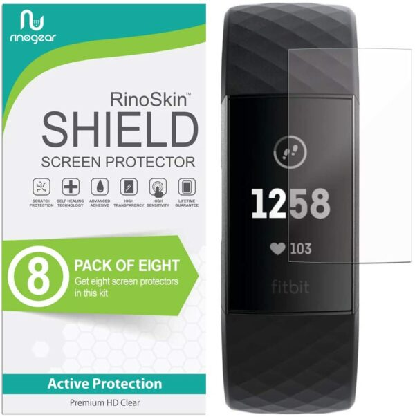 Rinogear Fitbit Charge 3 Screen Protector (8-Pack)