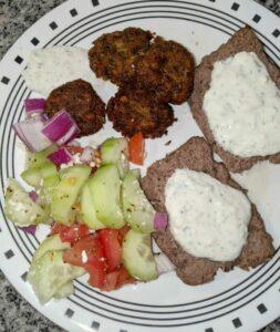 Gyros with Falafel and Greek Cucumber Salad