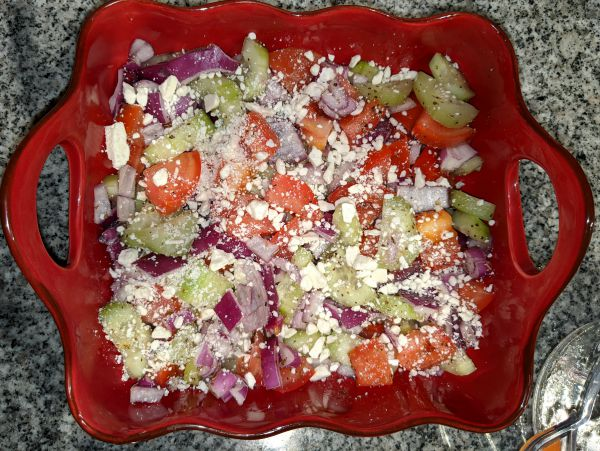 Greek Cucumber Salad in Red Ceramic Bowl- Cucumber, Red Onion, Tomato, and Feta Cheese
