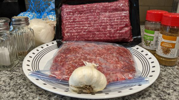 Gyro Ingredients - Salt, Pepper, Onion, Garlic, Lamb, Ground Beef, Oregano, and Cumin
