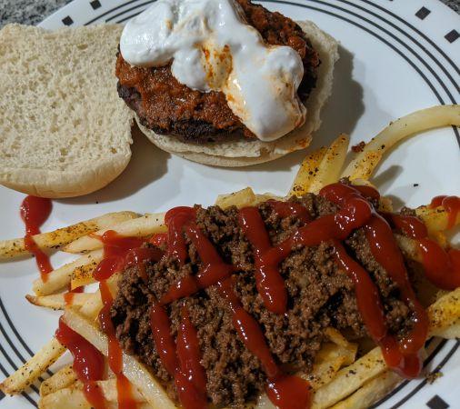 Tonys Fluff Screamer Burger with Fries