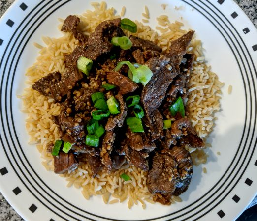Bo Luc Lac, Vietnamese Shaking Beef, over brown rice
