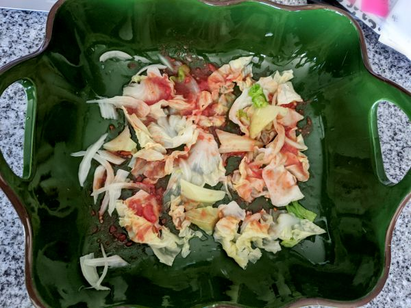 Cabbage leaves in ceramic dish