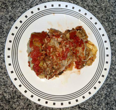 Halupki, Stuffed Sausage, on plate