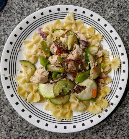 Chicken Primavera over Bowtie Noodles