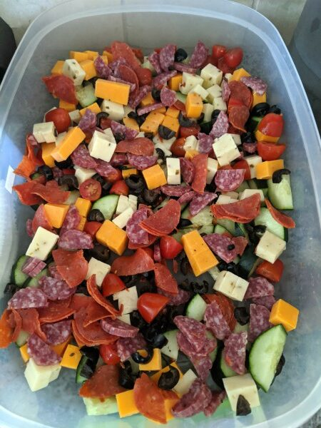 Vegetables, Cheese, and Meats in container