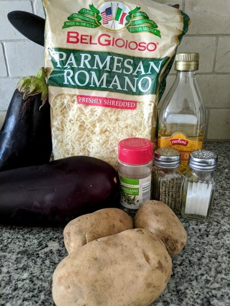 Greek Mousakka Ingredients Vegetables, cheese, and spices