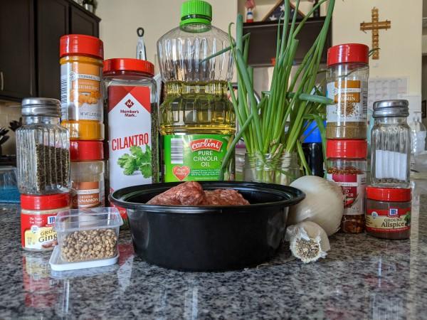 Sambousek Ingredients, Herbs, Spices, Meat, Onions, Garlic