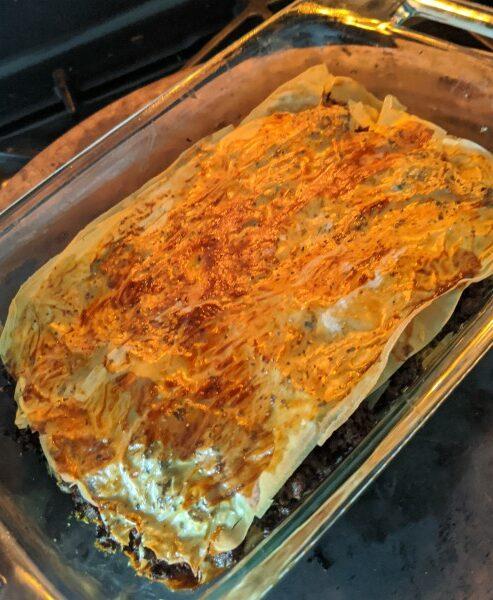 Samobousek layered in dish