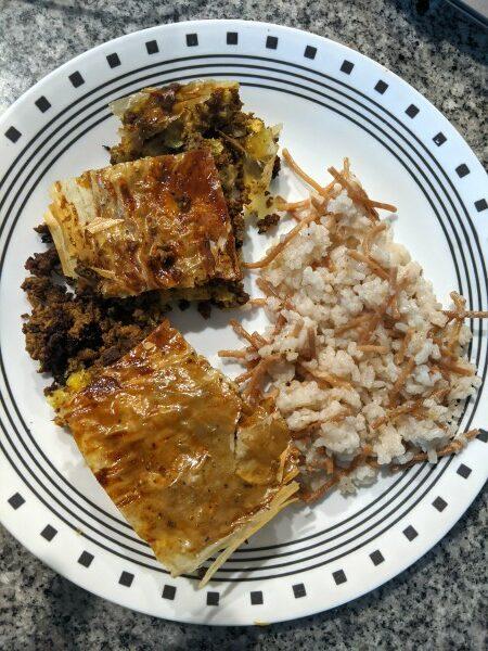 Sambousek and Lebanese Rice on Plate
