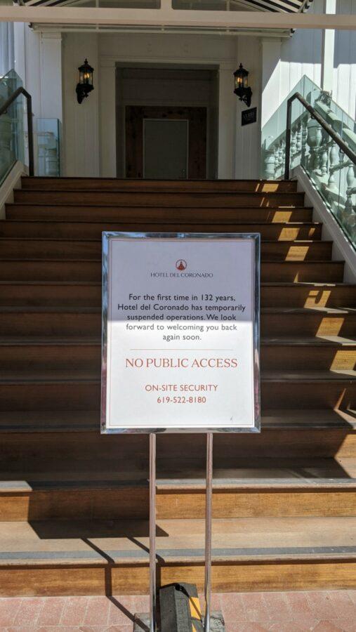 Hotel del Coronado Outside Closed for Covid