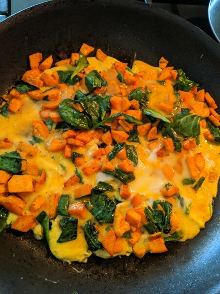 Sweet Potato, Spinach, and Egg Omelette in Pan