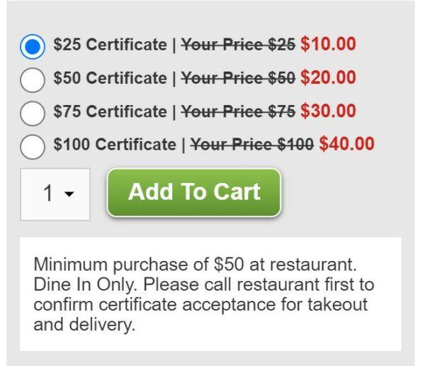Restaurant.com Gift Certificate Options