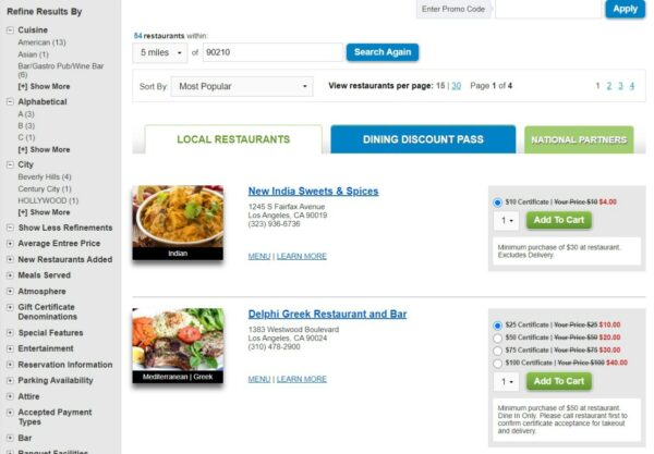 Restaurant.com Search Result Screen for 90210