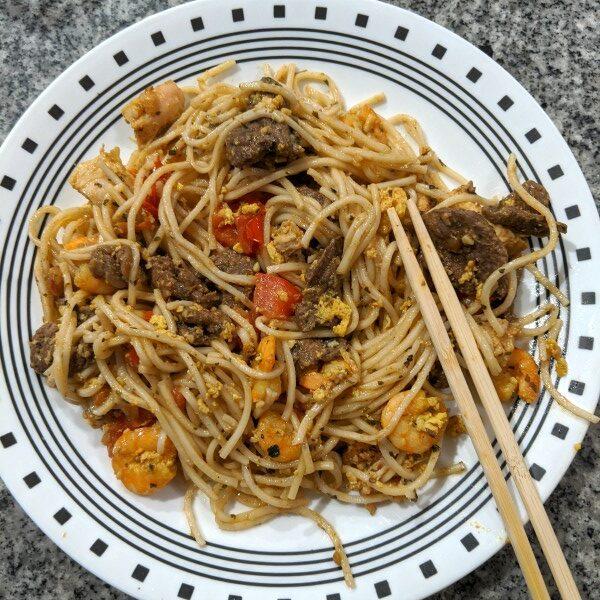 Drunken Noodles with added sirloin in Thai Inspired Steak Marinade