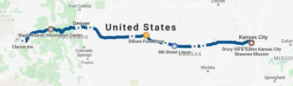 Colorado to Kansas Route Map