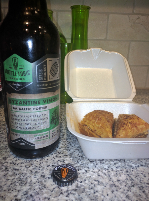 Byzantine Vision: A Baklava Beer from Bottle Logic Brewing in Anaheim, California.  We paired this beer with actual Baklava dessert.