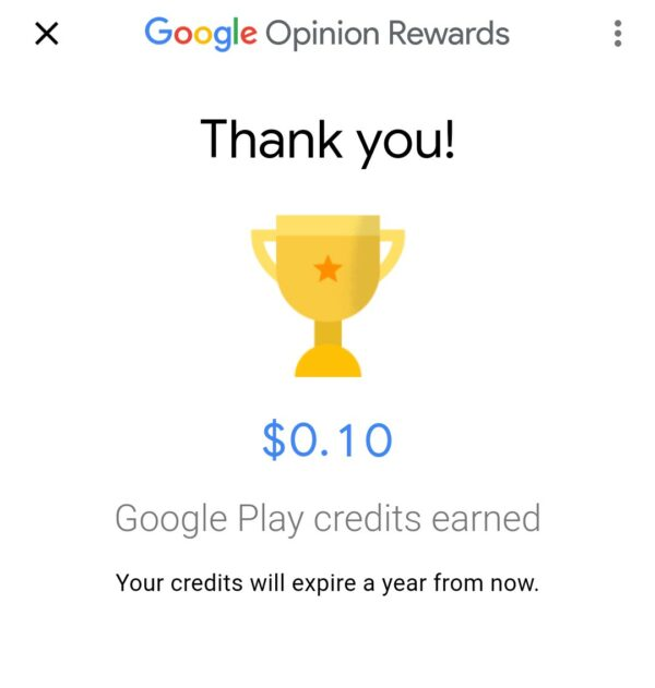 Google Opinion Rewards Finished Survey