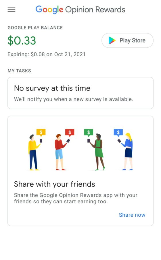 Google Opinion Rewards Balance Screen