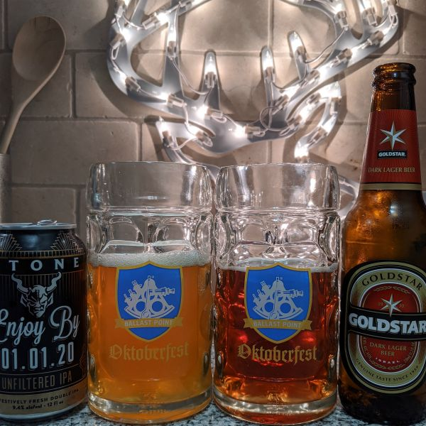 Beer Advent Calendar Stone Brewing Enjoy By 01.01.20 and Tempo Beer Industtries Goldstar Dark Lager