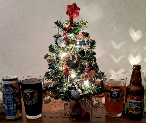 Beer Advent Calendar Boulevard Brewing Company and Modern Times Beer Collaboration Restless Nights and Mad River Brewing Company Slammin Salmon