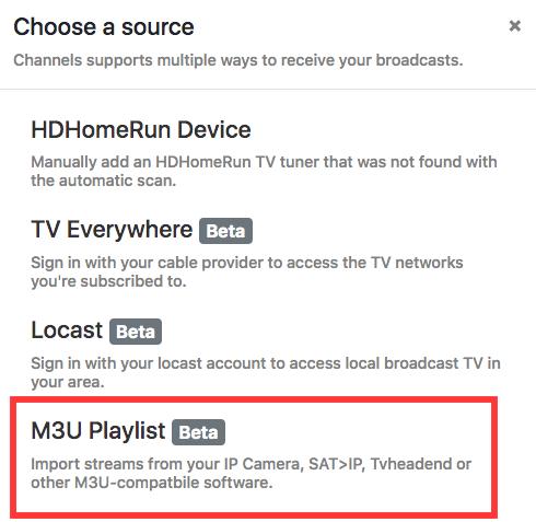 channels dvr choose a source
