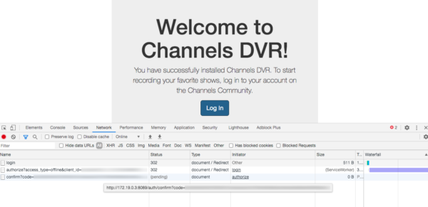 channels dvr setup initial screen with dev tools