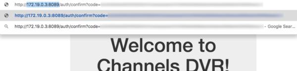 modify ip address for channels dvr login confirmation