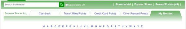 CashBack Monitor Website Tabs