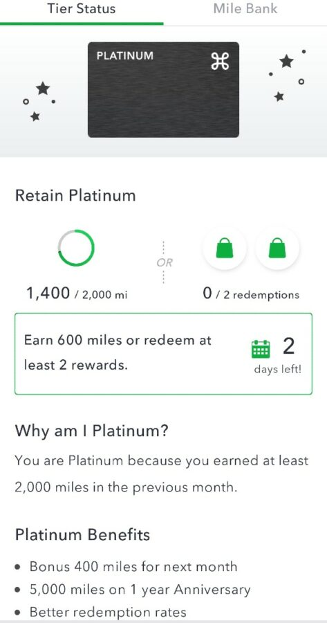 Cash Back Apps - Miles Tier Status Screen
