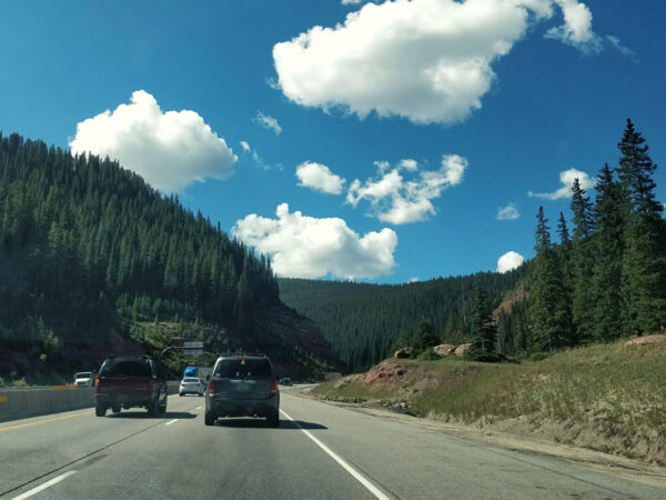 HighwayI70 surrounded by Trees outside of Vail, Colorado