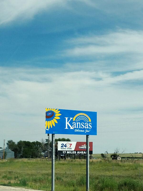 Kansas welcome sign, Kanorado.
