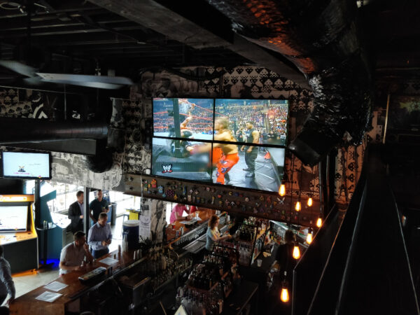 View of the bar from 2nd level at at Up Down Kansas City