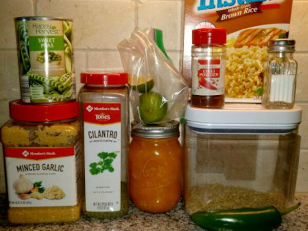 Ingredients for Sweet and Spicy Glazed Chicken with sides.