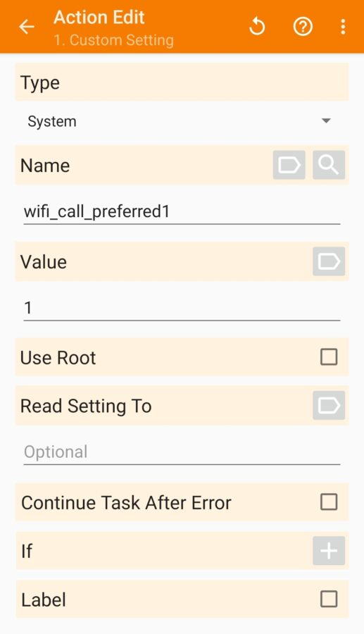 screenshot tasker action for changing unlocked galaxy s20 wifi calling preferences back to wifi preferred