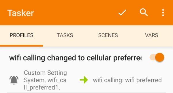 screenshot complete tasker profile for wifi calling preferences change