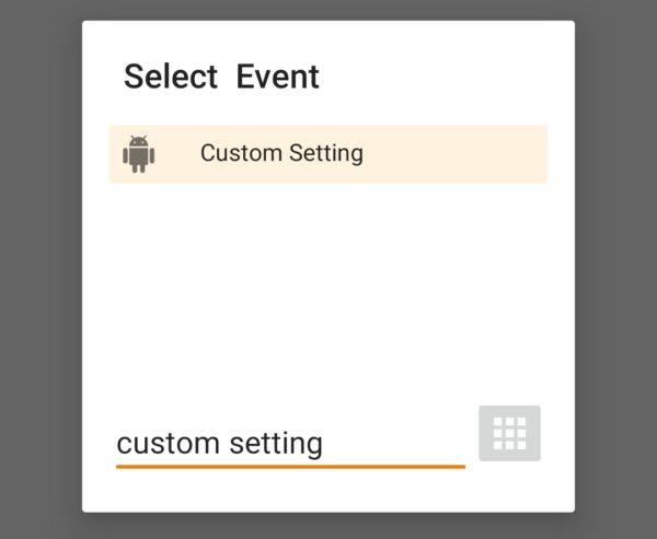 screenshot tasker event select custom setting