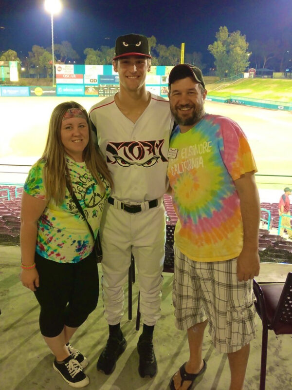 Lora and Matt with Gabe Mosser - Our Third Year as a Host Family for the Lake Elsinore Storm