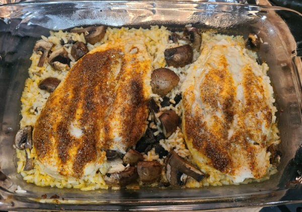 Chicken Mushrooms and Rice in baking dish before baking