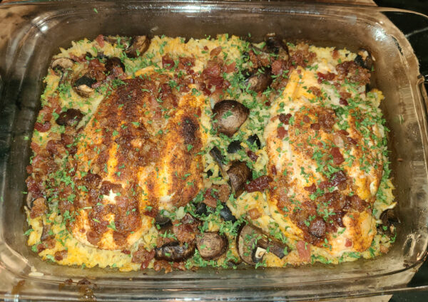 Chicken Mushrooms and Rice in baking dish after baking