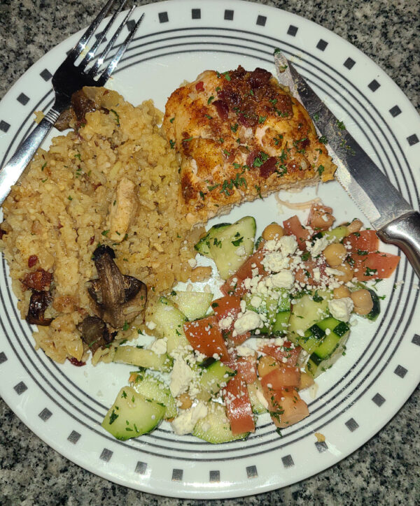Chicken Mushrooms and Rice with Cucumber Salad