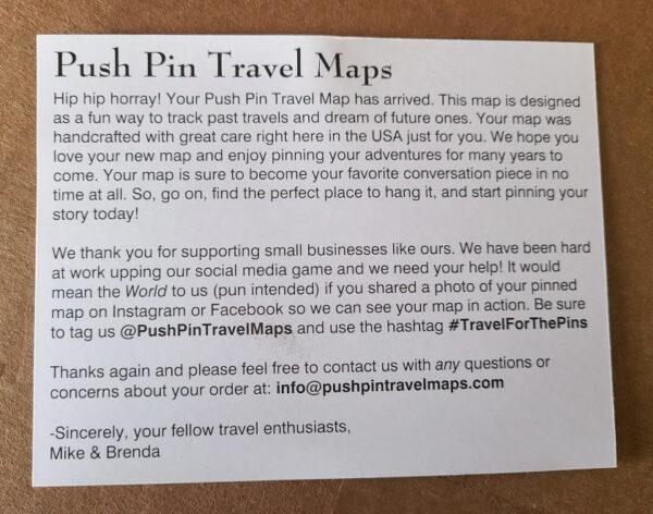Push Pin Travel Map Post Card