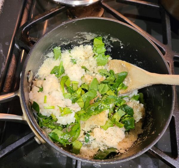 Adding Spinach to Risotto