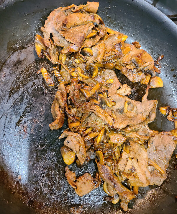 Mushrooms and Steak with Demi Glaze
