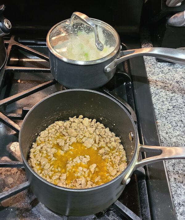 Ground Pork cooking on stove