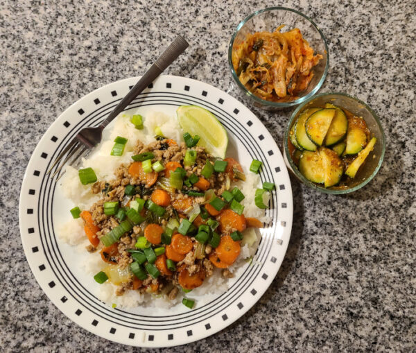Thai-Style Pork Rice Bowl from Home Chef with Kim Chi and Cucumber Salad